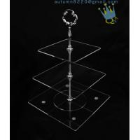 Quality CD (42) 3-layer cake stand with silver stick wholesale
