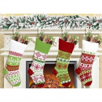 China Knitted Christmas Stockings Home Decoration Candy Bag Ornament Christmas Socks on sale