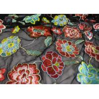 Quality Rich Floral Embroidered Mesh Fabric For Dresses , Vintage Heavy Lace Fabric wholesale