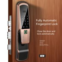 Quality Aluminum Alloy Fingerprint Door Lock , Electric Glass Doors With LCD Screen wholesale