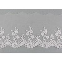 Quality Embroidered Floral Lace Fabric Scolloped Edging Nylon Mesh Cotton Lace Bridal Ribbon wholesale
