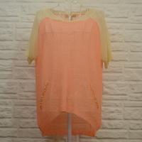 Quality Metalic detail summer style plus size short sleeve knitted top for female wholesale