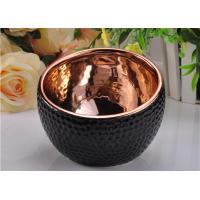 Quality 368ml Black Glazed ceramic candle containers with Rose Gold Electroplated Inside wholesale