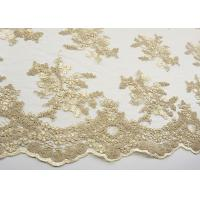 Golden Corded Floral Embroidered Tulle Fabric Scalloped Edge For Wedding Dresses