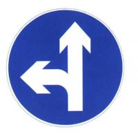 Quality Road Turn Sign Sheet Direction Sign Board Round Traffic Steel Board with Bule And White Color wholesale