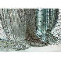 China Gold / Silver Sequin Mesh Fabric , 3x3mm Decorative Metallic Mesh Fabric For Tablecloth on sale