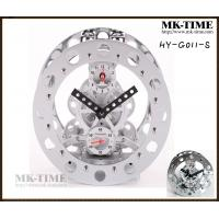 Silver Art Metal Gear Alarm Table Clock For Home Decor