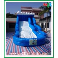 Quality Enviromentally-friendly Blue Ocean Inflatable Slide 0.55mm PVC With Water Pool wholesale