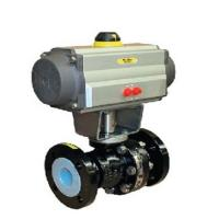 China PN 10 - PN 16 BR 20b Pneumatic Control Valve Ball Valve With PFA Lining on sale