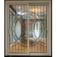 Quality Wrought iron glass panel with  12*12 black steel bar in sliding door wholesale