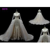 Quality Long Sleeves lace application detached train mermaid wedding dresses wholesale