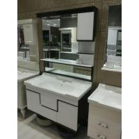 Cheap High Grade Black And White PVC Bathroom Cabinet Mirrored Bathroom Vanity With Sink for sale