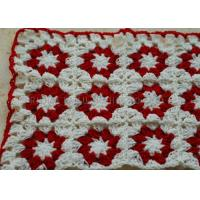 Quality White And Red Flowers Folded Knitted Chair Cover Square Overlocking Edge wholesale
