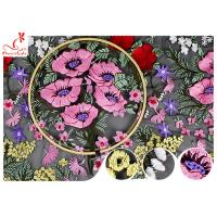 Quality Multi Colored Floral Heavy Embroidered Lace Fabric For Evening Dress OEM wholesale
