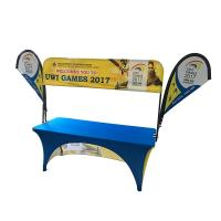 Quality Tradeshow Advertising Spandex Elastic Polyester table cloths with teardrop flag wholesale