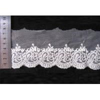 Quality Fringe Mesh Crochet Embroidered Lace Fabric Trimmed Per Roll 15Yds wholesale