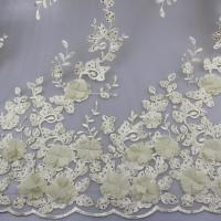 Quality 3D Floral Lace Fabric With Beaded Embroidered Polyester Fiber For Party Gowns wholesale