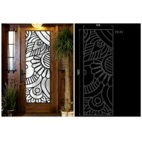 Quality Rustic Elegance  Wrought Iron Door Glass Agon Filled With Silk Screening 22*64 Inch wholesale