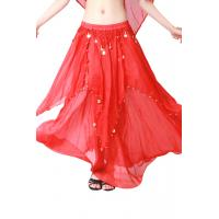Quality Light and colorful chiffon fabric  diy belly dance skirt with coins wholesale