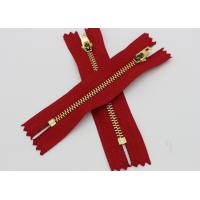 Quality Red Tape Brass Long Coat Zippers , Normal Brass Teeth Jeans Bulk Metal Zippers wholesale
