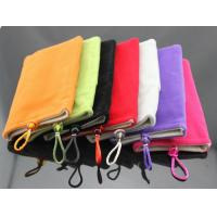 China Soft Microfiber Pouch Bag for mobile, power bank, dual-pocket flannel protective sleeve on sale