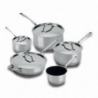 China 9-piece Cookware Set with Flat Stainless Steel Lid, Casted Steel Handle and Knob on sale