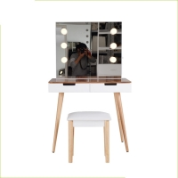 China UL Power Strip Rubberwood Foot Solid Acacia Makeup Dressing Tables on sale
