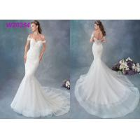 Cheap Embroidered Lace / Tulle / English Net Mermaid Style Wedding Dress Detachable Cap Sleeve for sale