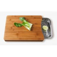 China Natural Bamboo Chopping Boards with Stainless Steel Food Drawer on sale