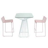 Quality Pink And Blue Metal Wire 0.038CBM Outdoor Table Chairs wholesale
