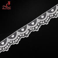 Quality Cotton White Embroidered Lace Trim 5.6cm Width Static - Cling Resistant wholesale