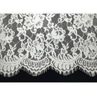 Quality Unique White Floral Chantilly Eyelash Embroidery Lace Trim For Black Maxi Dress With Soft Hand Feeling wholesale