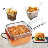 Quality Kitchen Tool Stainless Steel Wire Mesh Air Fryer Fast Food Serving Strainher Basket Mini Frenc  Fry Basket wholesale