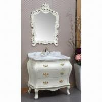 Quality Bathroom Vanity with Zinc Alloy Handle and Stainless Steel Screw, Available in Creamed White wholesale