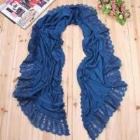 Quality Knitted Moon Scarf, Made of Acrylic Cashmere, with Solid Color and Lace, Customized Colors Welcomed wholesale