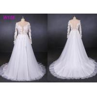 Quality High Fork Small Tail 3d Flowers Tulle Custom Wedding Dress Bride Gowns wholesale