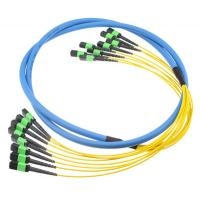 Quality 5N MTP MPO Fiber Breakout Cable Aqua ,  MTP Trunk Cable PVC 12F Subunit Cable wholesale
