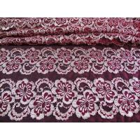 China Wavy Floral Elastic Lace Fabric Eco-friendly Dyeing For Evening Dress CY-DK0037 on sale