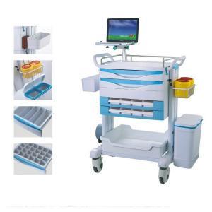 Quality Luxury Patient Resuscitation Crash Cart Hydraulic Wheels Manual Trolley wholesale