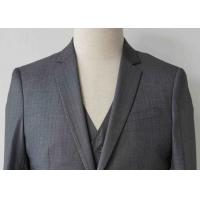 Quality Stripe Mens Light Gray 3 Piece Suit Worsted Wool Flat Pocket Japanese Style wholesale