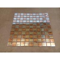 Quality Fiber Mesh Mirror Glass Mosaic Wall Tiles , Rose Gold Silver Glass Backsplash Tile wholesale