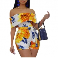 China Bodycon Boho Jumpsuits for Women -Off Shoulder Bandage Tie Dye Short Rompers Beach Club Outfits tye dye jumpsuit on sale