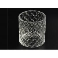 Quality Wax Cylinder Frosted Glass Candle Holders For Wedding , Glass Candle Cups wholesale