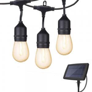 China Shatterproof Yard Fence 48ft LED Solar Bulb String Lights on sale