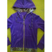 Quality Purple Velour Color Block Womens Zip Up Hoodies With Kangaroo Pocket High End wholesale