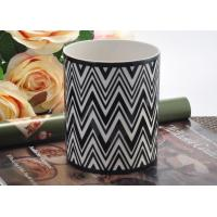 Quality Round Hand Made Ceramic Candle Holder Black white Interphase Engrave wholesale
