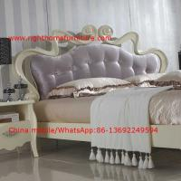 Cheap Flowers Headboard Wooden Bed in Neoclassical fabric design for luxury multiple for sale