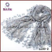 Quality Floral Embroidery Knitted Lace Paillette Scarf (LL03-2) wholesale