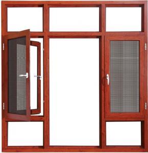 Quality Coloured HingedAluminium Double Casement Windows Bronze With Reflective Glass wholesale