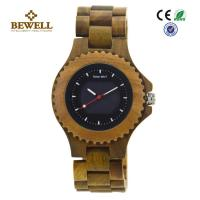 Quality All Natural Green Sandalwood Solar Men Wooden Watches , Handcrafted Wooden Men Watches wholesale